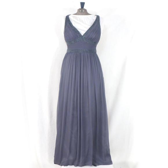 Adrianna Papell Dresses | Evening Beaded Gray Silk Dress | Poshmark